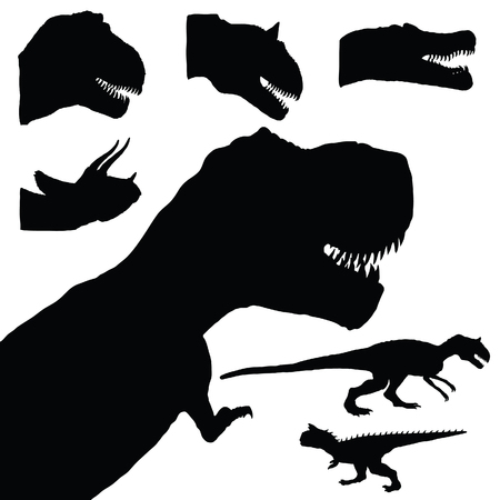prehistory: dinosaur set adorable black color animal illustration on white