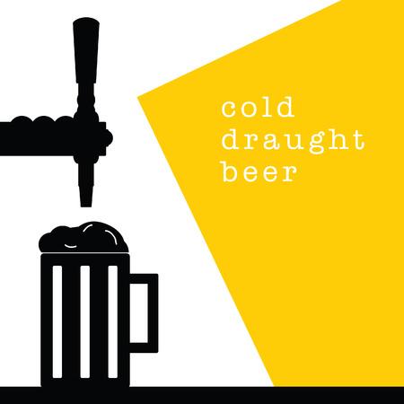 beer tap with mug drink cold illustration on white background Vetores