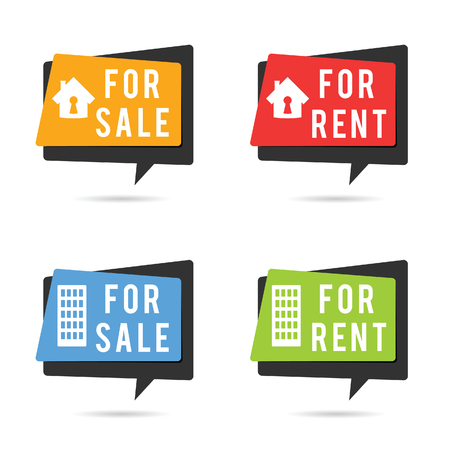house for rent: house for rent and sale set illustration in colorful
