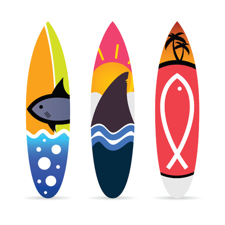 surfboard with fish icon on it set illustration in colorful