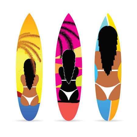 surfboard with girl on it set color illustration