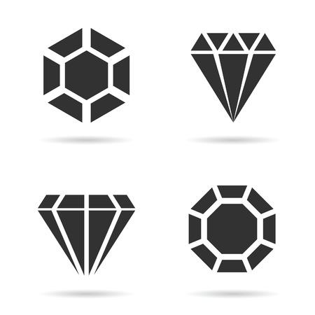 perfect: diamond luxury perfect icon set illustration on white background