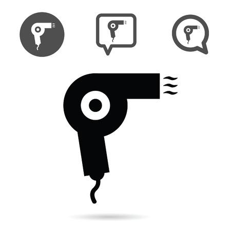 hairdryer: hairdryer icon set in black color illustration