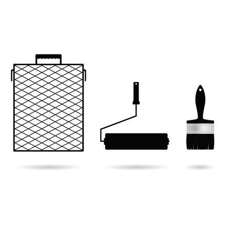 tooling: paint tool icon set in black color illustration