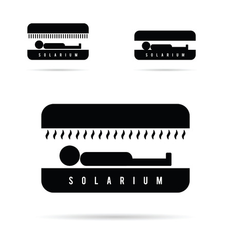 solarium: solarium with people icon in black color illustration