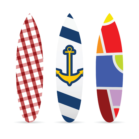 vocation: surfboard set with various textured illustration in colorful