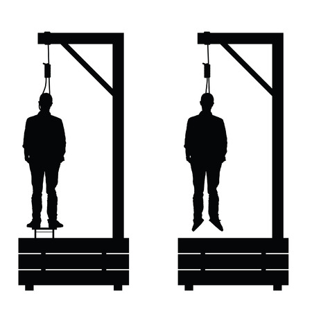 fatality: gallows set in black color with man on it illustration on white
