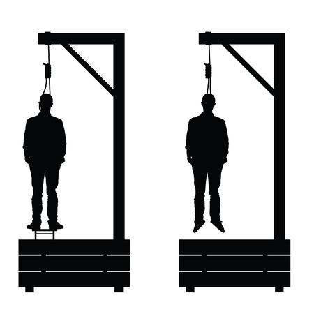 szubienica ustaw w kolorze czarnym z człowiekiem na nim Ilustracja na białym