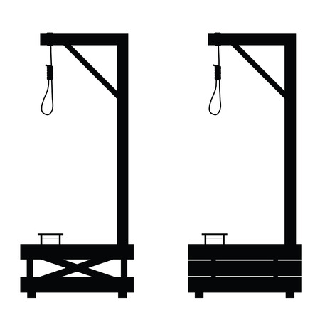 fatality: gallows set in black color illustration on white background