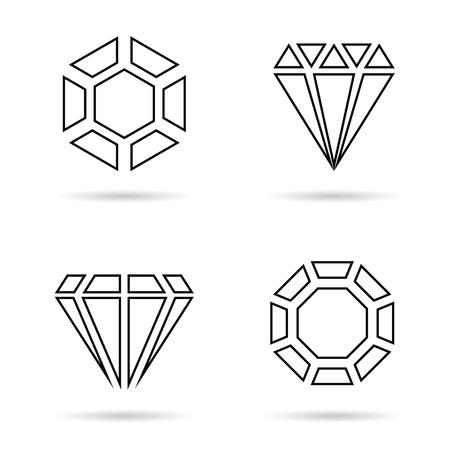 diamante negro: línea de diamantes ilustración conjunto de iconos de joyas en color negro