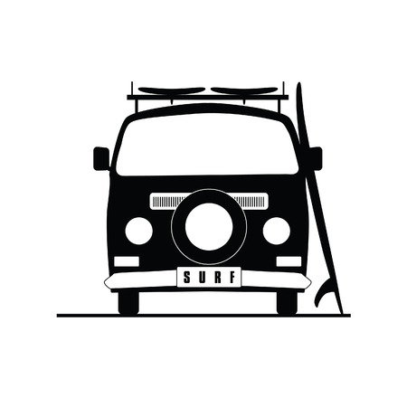 vocation: surf vehicle icon in black color illustration on white