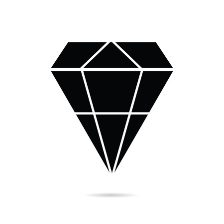 a precious: diamond perfect precious in black color icon illustration