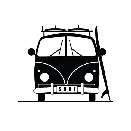 Surf-Fahrzeug mit Surfboard auf es in schwarzer Farbe Illustration