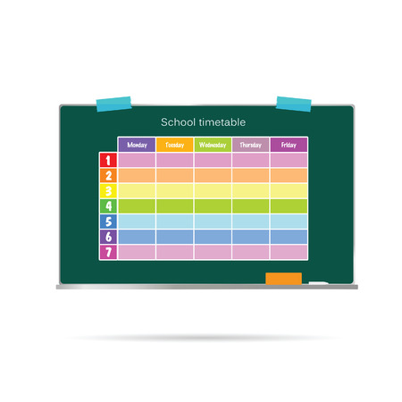 school timetable on green board vector illustration