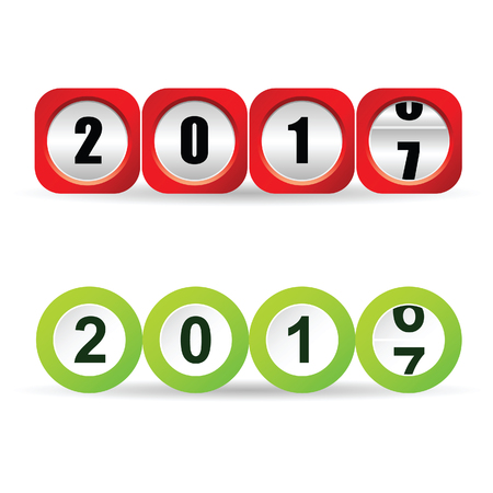 counter new year 2017 illustration in red and green color