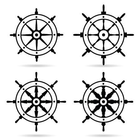 gouvernail naviguer en noir jeu de couleurs illustration sur fond blanc
