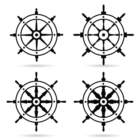 rudder navigate in black color set illustration on white background