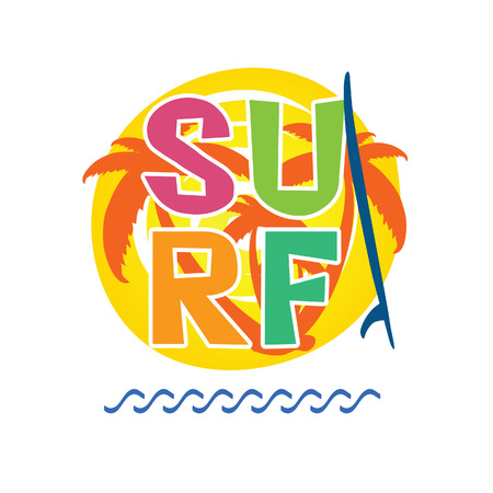 vocation: surf icon with surfboard water illustration in colorful Illustration