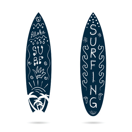 vocation: surfboard cartoon icon set illustration in blue and white color
