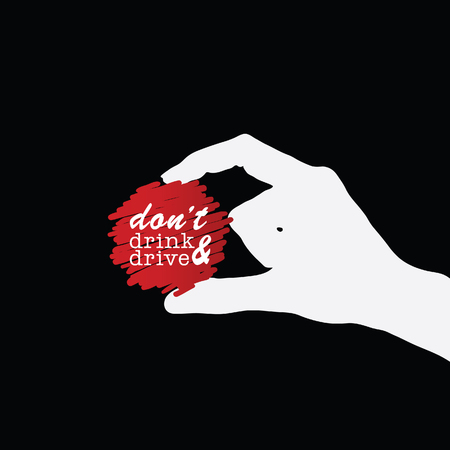don't: dont drink and drive icon in hand illustration on black background Illustration