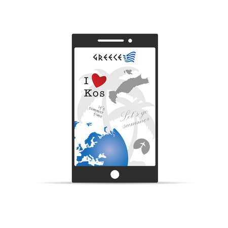 aegean: greek island kos paradise on mobile phone illustration in colorful Illustration