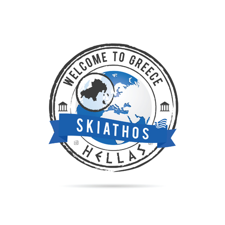 skiathos: grunge rubber stamp with blue ribbon and Greek island Skiathos illustration in colorful Illustration
