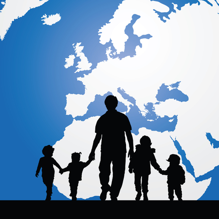 migrant: migration father with children map in background illustration in colorful Illustration