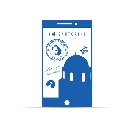 aegean: greek island santorini on mobile phone illustration in blue color
