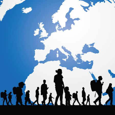 emigration and immigration: migration people with map in background illustration in colorful Illustration