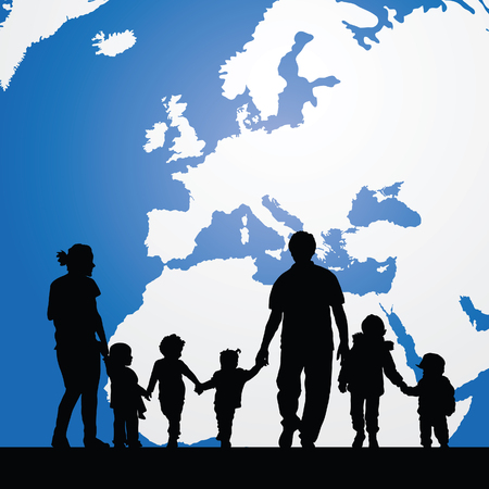 immigrant: migration family with children and map in background illustration in colorful