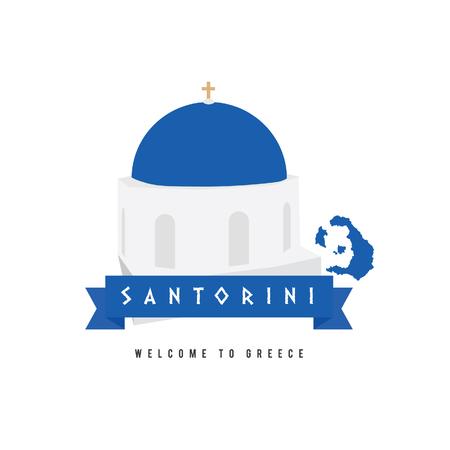 santorini: santorini island greece symbol in blue and white illustration