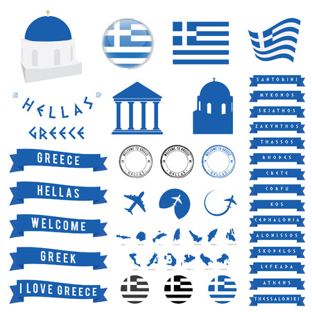 aegean: Greek travel symbol and map illustration blue ribbon vector