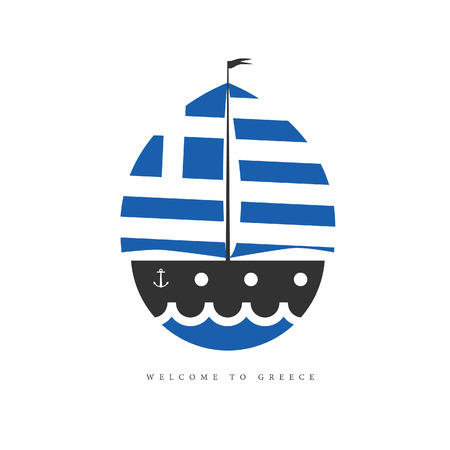boat with greek flag illustration on white background in colorrful Illustration