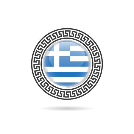 greek islands: greece flag hellas design art illustration in colorful on white