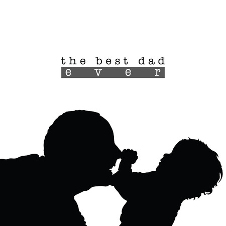 best dad: best dad with child silhouette illustration in black color