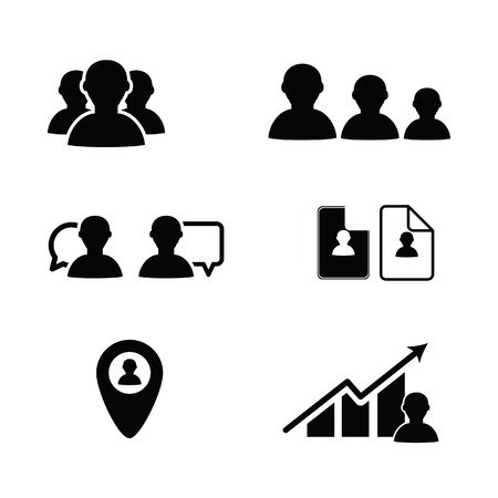 bussines people: bussines icon people in black color illustration on white