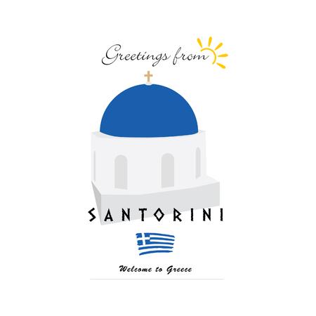 santorini: greetings from santorini greek island icon illustration Illustration