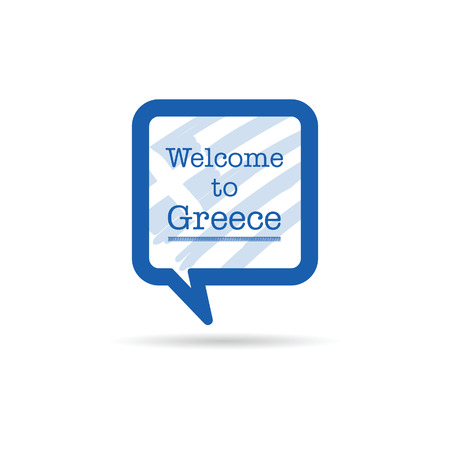 spech bubble: welcome to greece in square spech bubble illustration in blue color
