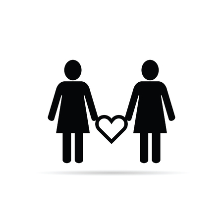 lesbian: lesbian couple icon with heart set illustration in black color