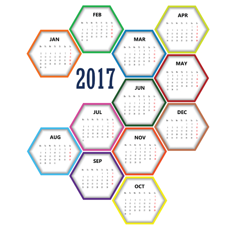 calendario noviembre: calendar in hexagon 2017 design set color illustration