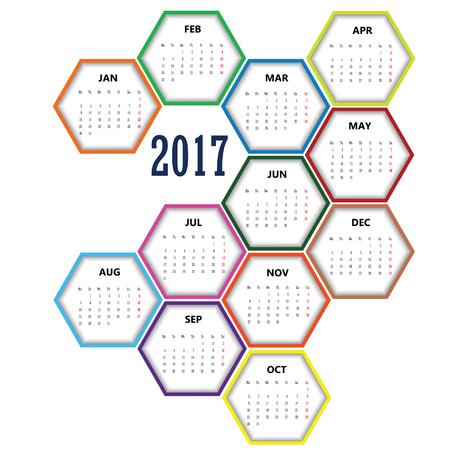 calendar in hexagon 2017 design set color illustration