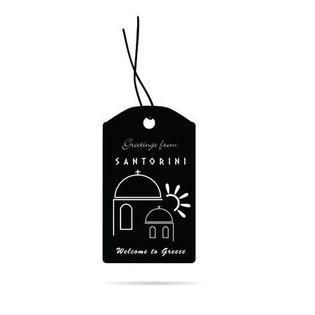 santorini: tag with santorini greek island icon illustration in white color