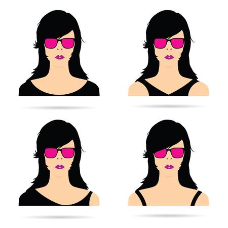 woman head with sunglasses set sensual illustration in colorful Illustration