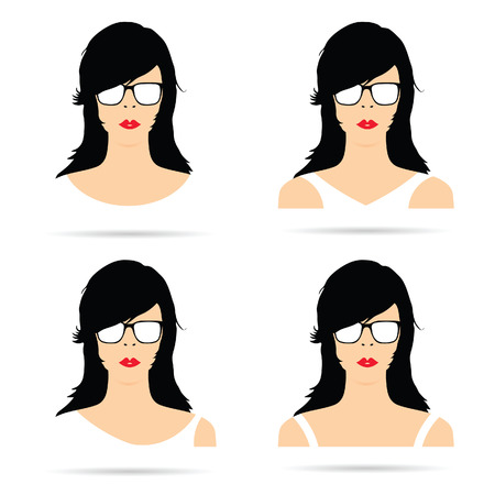 woman head with white sunglasses set illustration in colorful