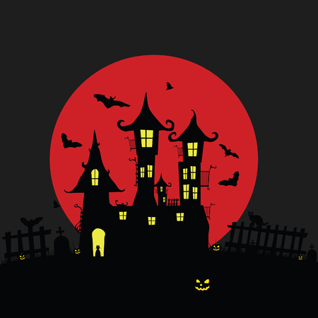 pumping: halloween with castle and pumping color holiday illustration