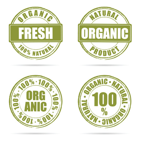 grunge rubber fresh and organic green illustration on white Illustration