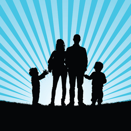 beauty in nature: family with happy children in beauty nature silhouette illustration in colorful
