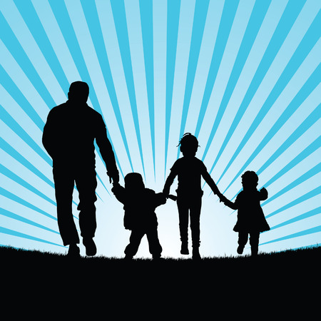 beauty in nature: family with children walking in  beauty nature silhouette color illustration Illustration
