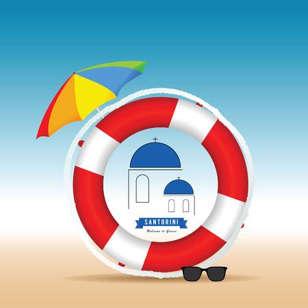 mediterranean: Santorini greek island in live saver and umbrella color illustration