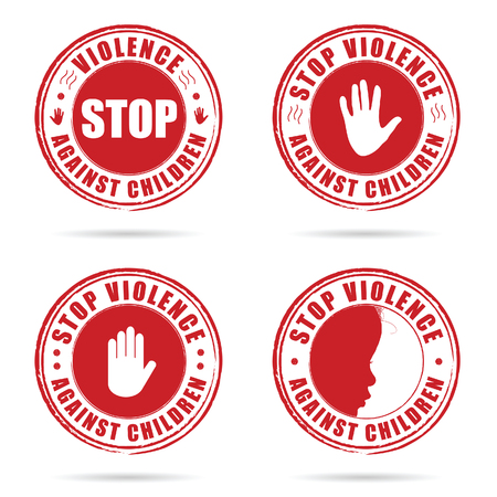 grunge rubber stop violence against children sign in red color on hand set illustration